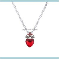 Pendentif Colliers Pendentifs BijouxWholesale-Noël Evie Descendants Rouge Heart Crown Crown Collier Queen of Hearts Costume Fan Bijoux Pré-Te