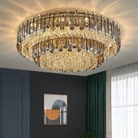 Luxury Round Smoky Gray K9 Crystal Ceiling Lights Simple Modern Large Chandeliers Pendant Lamps With E14 LED Bulb For Living Room Foyer Restaurant Hotel