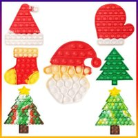 Christmas Tree Stocking Mitten Shape Push Fidget Toys Bubbles Popper Board Tie Dye Xmas Santa Clause Hat Caps Mitt Poo-its Finger Puzzle Educational Toy