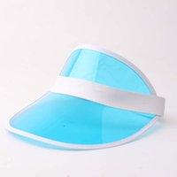 Adulte transparent PVC Ton vert Vide Top Sunscreen Chapeaux de soleil élastique printemps et d'été Voyage Visière Suns Cap Zze5704