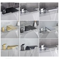 Bathroom Bathtub Faucets Set Solid Brass & Cold Sink Mixer Taps Basin Waterfall Faucet Single Handle Dual Holes Brushed Gold