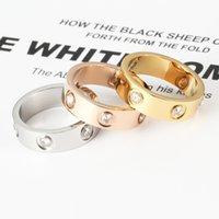Fashion en acier inoxydable classique Bandes de bande en forme de Couples masculins et femelles en forme de C pour envoyer un amant de diamant complet 5mm bijoux de mariage ne s'estomptier pas