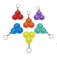 Bubble Poppers Push Keychain Kids Adults Novel Fidget Toy Bag Pendants Keychains Hangings Soft Squeeze Silicone Key Ring EWA5581