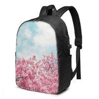 Rucksack Teenage für Schuljunge Mädchen Frühling Kirschblüte Sakura über Blue Sky Bag USB-Ladebücherei
