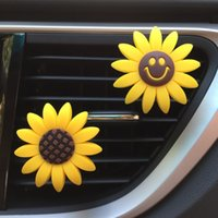 Car interior air outlet beautiful clip Freshener sunflower smiley perfume cute Aromatherapy flower fragrance