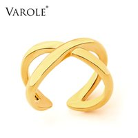 VAROLE Cross Line Rings For Women Gold Color Simple Ring Fashion Jewelry Party Bague Femme Accessories Anillos Mujer