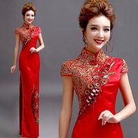 Rot traditionelle chinesische cheongsam lange qipao braut traditionen klassische frauen party kleid orientalische stilkleider plus größe ethnisch gerinnen