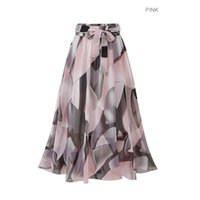 Skirts Streetwear Women Summer Skirt Elastic High Waist Jupe Femme 5XL Plus Size Falda Midi Pink Black Saia Bow Print Floral 850F