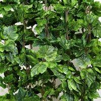 인공 식물 12pcs 공장 인공 꽃 실크 포도 잎 매달려 garlands 가짜 포도 나무 웨딩 장식 홈 BWD6080