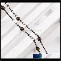 2mlot 4mm Metalowy Łańcuch Otwarty Link Z Koralik Charm Antique Bronze Dla Biżuterii Wykonywanie DIY Bransoletka Naszyjnik Mulk owalne Łańcuchy Fulyx Uhrh8