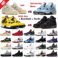 2021 New air jordan jordans jordon aj aj4 4 4s union noir guava ice men shoes sail Mushroom Neon metallic purple basketball Sneakers Black cat bred Trainers 36-47