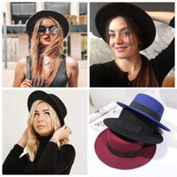 Wide Brim Hats Woolen Women Hat Classic Solid Color Felt Fedoras Female Lady Flat Top Jazz Cap Bucket Winter Spring Summer
