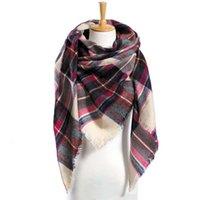 여성용 뉴트 트라이앵글 스카프 체크 무늬 목도리 캐시미어 겨울 스카프 패션 bufanda 담요 wholedropshipping