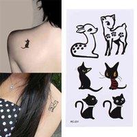 10.5 * 6cm 1 Feuille Noir Stickers étanche Stickers corporels Autocollants de tatouage temporaire d'animaux Cat Deer Sticker Tatouge de paillettes