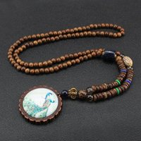Mode Pfau Feder Halskette Ethnische Nepal Schmuck Handgemachte Sandelholz Perlen Lange Pullover Vintage Anhänger Halsketten
