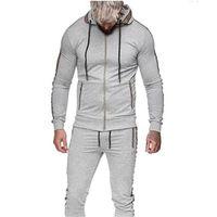 Men's Tracksuits 2 Pieces Sets Tracksuit Men Brand Spring Autumn Hooded Sweatshirt +Drawstring Pants Male Stripe Patchwork Hoodies Suits