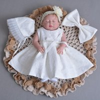 Born Baby Girl Lace Dress Christening Baptism Birthday Princess Dresses Big Bow Party Suit With Hat Flower Hairband Girl's