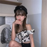 Women's Blouses & Shirts Sexy Cow Print Off Shoulder Ladies Tops Summer Style Fashion Brand Slim Club Womens And Slash Neck
