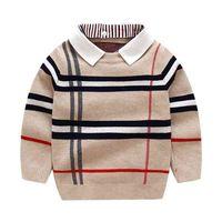 1-8t Kleinkind Kind Jungen Kleidung Herbst Winter Warme Pullover Top Langarm Plaid Pullover Mädchen Mode Gestrickte Gentleman Strickwaren 210902