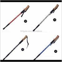Outdoors Trumpet Cork Trekking Poles Ultra Light Telescopic Alpenstock Multi Function Straight Handle Hiking Walking Stick Cca2499 Hus Rshkm