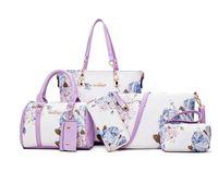 Evening Bags 6PCS Luxury Designer Handbags For Women Prints PU Leather Bag Clutch Purse Shoulder Female Tote Set Crossbody