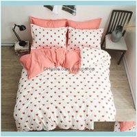 Setleri Malzemeleri Tekstil Ev GardenPink 4 Adet Kız Erkek Çocuk Yorgan Er Yetişkin Çocuk Çarşaf ve Yastık Koridorlar Yatak Seti 2TJ-61019 D