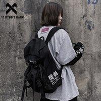 11 BYBB'nin Koyu Hip Hop Sırt Çantası Erkekler Kadınlar Tuval Şerit Streetwear Okul Çantası İşlevli Seyahat Çantaları Harajuku Sırt Çantaları 210309
