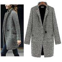 Women's Wool & Blends Casual Women Woolen Coats Autumn Winter Solid Color Slim Loose Female Cardigan Button Warm Thicken Midi Coat Plus Size