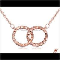 Choters Pingentes Drop entrega 2021 para mulheres moda luxo de alta qualidade zircon 18k banhado a ouro 2 círculos clavícula cadeia colares jóias w
