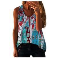 Fashion Women O-Neck Sleeveless Printing Camisole Vest Tops Easy Blouse Women's T-Shirt