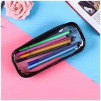 PVC Pencil Bag Zipper Pouch School Students Clear Transparent Waterproof Plastic PVC Storage Box Pen Case OWD10429