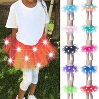 Skirts Girls LED Dancing Skirt Luminous Christmas Party Stage Layered Tulle Ballet -OPK