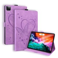 PU Leather Tablet Cases for Apple iPad Pro 12.9 inch Samsung Galaxy Tab S7 Plus T870 T875 T970 T975 Dual View Angle Butterfly Printing Flip Stand Protective Cover