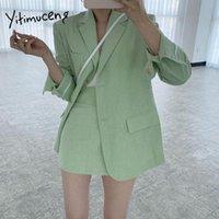 Two Piece Dress Yitimuceng Women Skirt Suits Set 2021 Fall 2 Jacket Work Suit Skinny Mini Skirts Korean Fashion Office Ladies Blazer