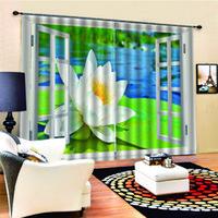 창 블랙 아웃 럭셔리 3D 커튼 침대 룸 그린 루스 커튼 현대 거실 커튼