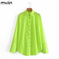 MXTIN Kadın Bahar Moda Yeşil Tek Göğüslü Uzun Bluzlar Vintage Yaka Yaka Kol Bölünmüş Kadın Gömlek Şık Tops