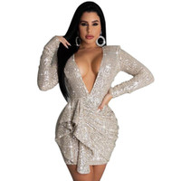 Bainha Mini Vestido Backless Sequin Night Dress Mulheres Big Size Vestidos Moda Assimétrica Patchwork Manga Longa Sexy Profunda V-Pescoço