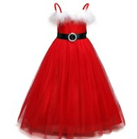 2-8 years baby girl christmas dress sequined sleeveless red mesh tutu skirts with feather prom party dresses for kids new year x'mas
