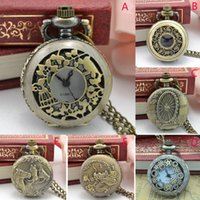 Wristwatches Vintage Steampunk Retro Bronze Design Pocket Watch Quartz Pendant Necklace Gift Man F606