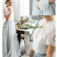 Newest Graceful Two Pieces Lace Wedding Dresses A Line Short Sleeves Bridal Gowns Vestidos De Novia