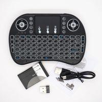 ميني 2.4 جيجا هرتز اللاسلكية الخلفية لوحة المفاتيح المحمولة باليد مع لوحة مفاتيح الإضاءة الخلفية لوحة اللمس للكمبيوتر / صندوق التلفزيون الروبوت 1pcs / lot