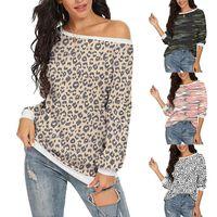 ليوبارد طباعة النساء sweatershirt هوديس 2021 الخريف الشتاء س الرقبة قمم عارضة طويلة الأكمام السيدات المحملات الإناث الملابس هوديي البلوز