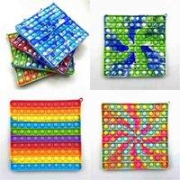 손가락 탁상 장난감 메가 레인보우 거품 팝 퍼 셔널 감각 FIDGET 푸시 팝 대형 사각형 포퍼 퍼즐 어린이 교육 완구 G550B5R
