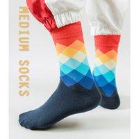 Men's Socks Cotton Check Tube Sports Casual Print Skateboard Sock Harajuku Street Fashion Hip Hop Geometric Checkerboard