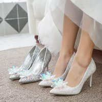 Dress Shoes Fashion Shallow Mouth Crystal With Shining Sequins Sexy High Heels Bridesmaid Wedding Women