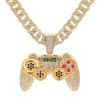 Strass cubain glaçonné link chaîne de chaîne de jeu contrôleur manche collier de pendentif pour femmes hommes or couleur hip hop bijoux