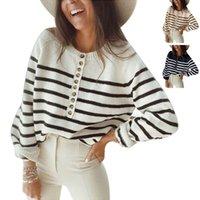 Herbst- und Winterstrickwaren gestreifter Pullover Top Mode Button Cardigan Damen Pullover