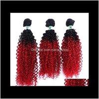 Prodotti Drop Consegna 2021 16 18 20 pollici Afro Kinky Ricci Azzurri Sintetiche Simulazione Simulazione Huma Capelli Bundles FLC-002 Zpe2k
