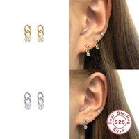 Aide 925 Sterling Silber Liebeskette Zirkon Ohrringe für Frauen Ins Geometrisches kleines Bolzenohrring Fine Jewelry Pendientes Plata