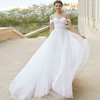 Chic Lace Bohemian Wedding Dress Sexy Off The Shoulder Summer Beach Bridal Dresses 2021 A Line Tulle Country Women Party Gown vestido novia robes de mariage